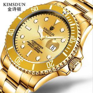 Negocio de moda de lujo KIMSDUN reloj mecánico automático para hombres pantalla de fecha a prueba de agua correa de acero inoxidable calidad Relogio