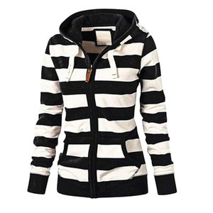 Зимняя куртка женская на молнии с капюшоном Верхняя Полосатый Толстовка пальто Плюс Размер Новая куртка вскользь тонкая перемычка пальто Jaqueta Feminina