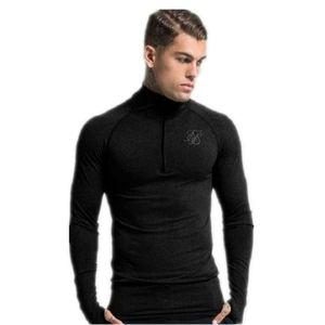 Sik soie Hommes T -Shirt Casual manches longues T-shirt Hommes Soie Survêtement Sweat-shirt Fashion Fitness Tight Siksilk T-shirt des hommes M-2XL