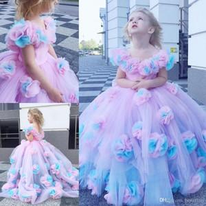 Neue bunte 2020 Blumen-Mädchen-Kleid-Ballkleid Tulle Kleines Mädchen Brautkleider Vintage Communion Pageant Kleid-Kleider