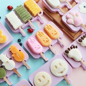 moda DIY Ice Cream Silicone Moldes crianças Animais caseiro picolé moldes para Crianças Gelo-lolly dos desenhos animados ferramentas bonito Mold Ice Cream T2I5826