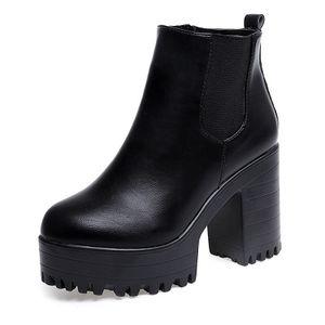 2019 Nuove donne stivali di moda Piattaforme tacco quadrato Zapatos Mujer PU pelle alta coscia pompa stivali scarpe da moto
