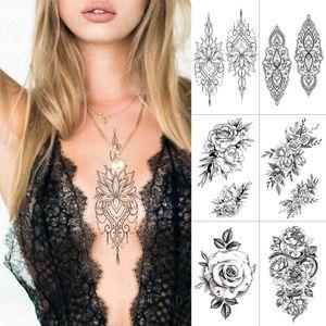Waterproof Temporary Tattoo Sticker Rose Peony Lace Henna Flash Tattoos Flower Lotus Body Art Arm Fake Tatoo Women Men