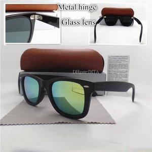 Top Quality Shade Glass Lens Brand Plank Sunglasses Men Women Luxury Vintage Flat Sunglasses 52MM Mirror UV400 Goggles Sun Glasses Box Case