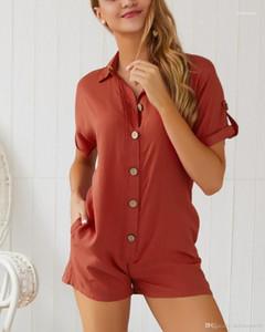 Macacão New Designer suporte sólido Collar Casual macacãozinho feriados fêmeas Praia Shorts Moda Ladies Botão