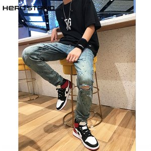 # HS high quality new SKINNY washed and jeans old splash-ink damaged elastic blue feet jeans men's fashion