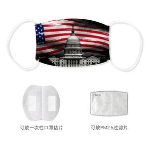 Máscara Flag Impresso American National bandeira 3D Impresso lavável PM2.5 Máscaras Anti Rosto Máscara de poeira reutilizável Boca Muffle