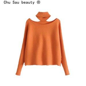 Chu Sau bellezza 2019 Fashion Casual stile reversibile Maglioni Donna Autunno Inverno Chic Solid Halter A spalle Pullover femminile