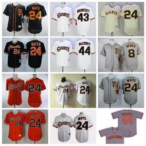 Maglia San Francisco Baseball 8 Hunter Pence Jersey 24 Willie Mays 43 Dave Dravecky 44 Willie McCovey Pullover Vintage 1