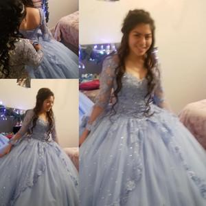 Abito di sfera Quinceanera di Charme a maniche lunghe in pizzo tulle Prom Debuttante Sedici 15 Sweet 16 Dress vestidos de 15 anos