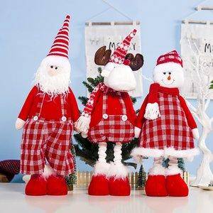 Top-Santa Claus Snowman Reindeer Doll Decorations Christmas Present Santa Claus Long-Legged Doll Cloth Art Mesh Santa Claus Musi