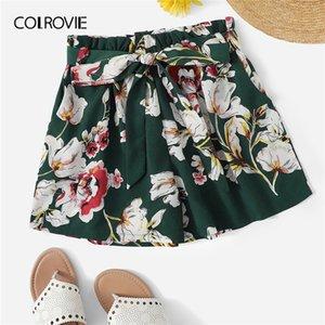 Colrovie Green Self Tie Stampa floreale Elastico in vita Boho Summer Shorts Donna 2019 Summer Wide Leg cintura allacciato Shorts Casual Y190429