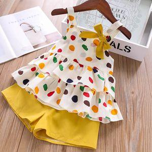 Humor Urso roupa do bebê da menina terno verão bonito de Moda de Nova Sling Fruit T-shirt + bolso da calça de duas peças de roupa Set Terno infantil