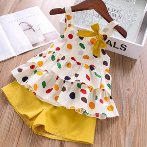 Humor del oso de la niña de traje ropa de verano lindo de la nueva manera de la honda de la fruta de la camiseta + bolsillo de los pantalones de dos piezas de juego de los niños juego de ropa