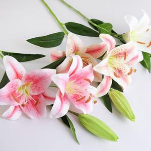 Yapay Lily Çiçek Gerçek Dokunmatik İpek Lilyumlar Otel Calla Lily Dekoratif Buket İçin Düğün Süsleme LXL990-1