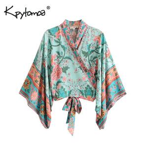 Boho Chic Yaz Kısa Vintage Peacock Çiçek Baskı Kimono Kadınlar 2019 Moda Batwing Sleeve Plaj Gömlek Bluz blusa Mujer Y190427 Tops