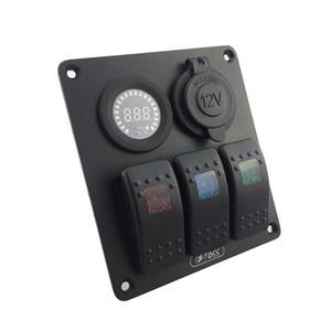 상품명 : 방수 3 갱 3 색 로커 스위치 패널 DC12V 전압계 전원 충전기 소켓 해양 보트 자동차 RV 차량
