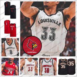 Personalizzato 2020 Louisville pallacanestro # 33 Nwora 23 Steven Enoc 24 Dwayne Sutton 30 Ryan McMahon Uomini Gioventù Nero Rosso Bianco Retro Jersey 4XL