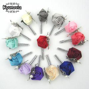 Kyunovia Custom Made Flor Lapela Pin Boutonniere Mens Handmade Broche De Casamento Casais Noivos Boutonnieres Z05 C19041701