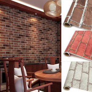벽돌 돌 벽 종이 중국 소박한 빈티지 3D PVC 박리제 양각 빨 WallPaper 거실 배경 100X45 센치 메터