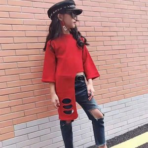 Season 2019 children's wear girl's red baby Children's clothing sweater girl's personality hole foreign fashion runway sweater
