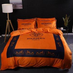Branded Winter-Polyester-Baumwolle Bettwäsche Set Designer 4 Stück Blatt Bettbezug Kissen- Heimtextilien Bequeme Bettwäsche 44