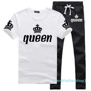 2020 Fashion men's sports suits summer short-sleeved T-shirt two-piece men and women casual sports suits new size S-3XL