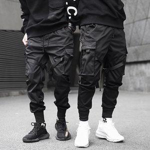 New Fashionable Darkly Stylish Men's Jogger Trousers Autumn Hip Hop Streetwear Side Pocket Ribbons Thin Sweatpants Pencil Pants T200706