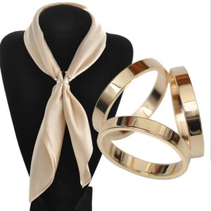 Korean Trendy Women Jewelry Gold Color Brooch Pin Shawl Scarves Scarf Buckle Clips For Women Fashion Ornaments Simple 3 Round 10pcs lot