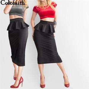 Colorfaith Novas Mulheres Sólidos Pacote de Trabalho Hip Ruffles Formal Fenda Lápis Midi Saia Elegante Senhoras Bodycon Femininas Sk3018 Y19043002