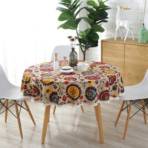 Bohemian National Wind Round Lace Tablecloth Printed Hotel Decorative Table Cloth Sunflower Decor Table Covers Lace
