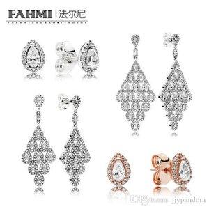 FAHMI 100% стерлингового серебра 925 пробы 286252CZ Роза сияющая каплевидная серьга шпильки 296321CZ каскадные гламурные серьги ограниченного выпуска