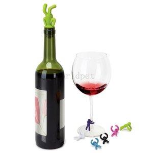 Creative silicone Headstand homme Bouteille Stopper Set Mini Little Renversé verre Man vin lecteur bouteille de vin Marker Livraison gratuite