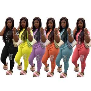 Nuevas mujeres de chándal imprimir cartas camiseta y pantalones de Legging Sportwear trajes de dos piezas Trajes Top Tees Pantalones Deporte D42708