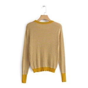 BBWM MULHER Moda Textura camisola Pullovers De Malha Amarela para Meninas Casuais Mulheres O-Pescoço Malhas De Manga Longa Tops