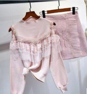 2019 봄과 가을 여성용 중공업 네일 비드 누설 숄더 스웨터 스커트 작은 향기로운 바람 여신 2 팬 무료 배송