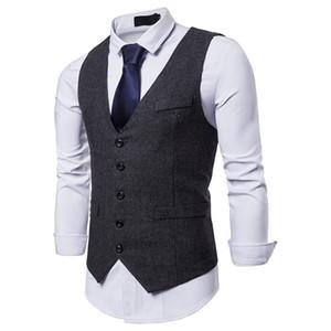 2019 Koyu Gri Damat Yelek Kır Düğünü Yün Balıksırtı Tweed Yelek Slim Fit Erkekler Suit Yelek Elbise Ceket Elbise Yelek Çiftliği Balo