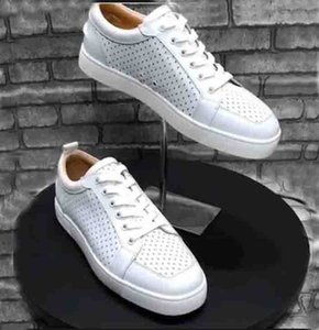 Free Shipping Brand Footwear White Leather Women Red Soles Rantulow Lovers Fashion Shoes Red Bottom Sneaker Rantulow Orlato Mens Flat