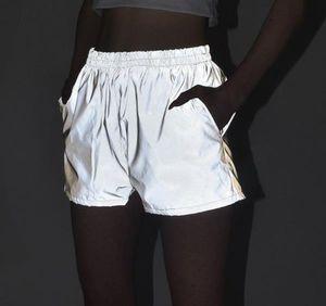 3M réfléchissant Shorts Femmes d'été gris Casual Hiphop Planche à roulettes haute taille Shorts Vêtements de sport Casual