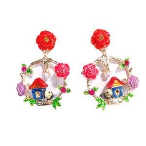 Hand Painted Earrings Flower House Birds Earrings Plating Craft Stud Earrings Fashion Jewelry Women