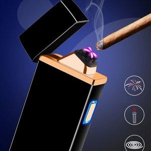 creativa de arco eléctrico de plasma más ligero de doble arco USB recargable de metal a prueba de viento del cigarrillo encendedor de plata mate pulso oro azul negro A01620