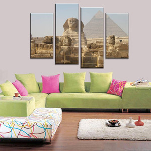 Ev ve Salon Dekor için Tuval Wall Art Picture On 4pcs / set Çerçevesiz Mısır Büyük Sfenks ve Piramit yazdır