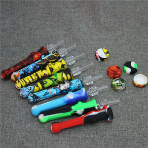 quartz Nectar Collector tips With Quartz Tips 14mm Silicone Nector Collector Kit Mini NC Smoking Tool glass hand pipes