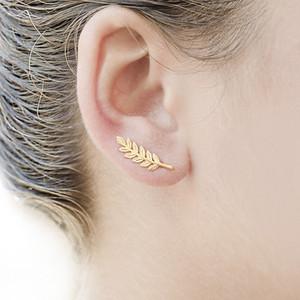 جديد خمر مجوهرات المتأنق أقراط الريشة للنساء شجرة جميلة بسيطة يترك أقراط الذهب والفضة مطلي الأذن كليب b003