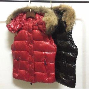 venda da marca Hot Mulheres Jacket curto espessamento Quente Brasão de Down espessamento roupas femininas 100% real Fur Collar Jacket capa coletes de Down