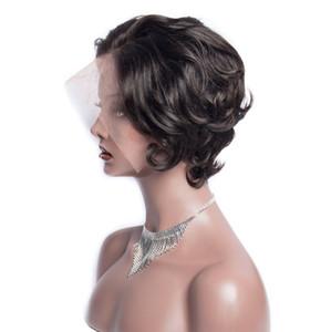 Modern Mostrar barato 6 polegadas Curto solto onda perucas de cabelo Pré arrancado da linha fina da Malásia Virgin solto Humano Perucas 150% Densidade