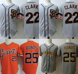 Мужские 22 Будут Кларк Джерси Сан-Франциско 25 Барри Облигации Будут Кларк Ретро Бейсбол Майки Серый Оранжевый Бесплатная Доставка S-XXXL