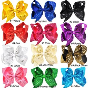 6 Inch Sequin Hair Bows With Clip For Baby Children Large Sequin Bow Hairpins Unicorn Bows Barrette Hair Accessories