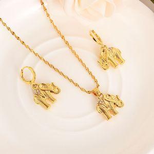 Afrika 14 karat Solid Gold Gefüllt niedlichen CZ Elefant Halskette ohrringe Trendy frauen Männer Schmuck Charme Anhänger Kette Tier Glück