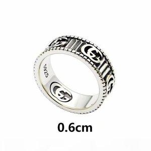 2020 / hommes bijoux newluxury anneaux argentés antique anneaux de marque G gravés bagues de fiançailles en acier de titane bande pour co
